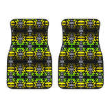 Black Fire Green and Yellow Front Car Mats (Set Of 2)