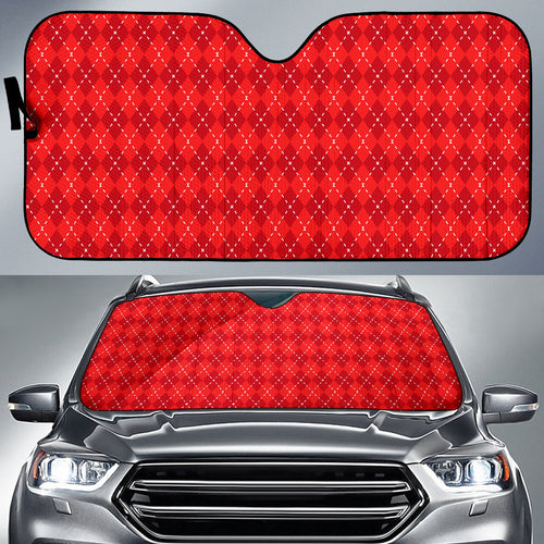 Red Argyle Auto Sun Shade