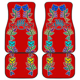 Generations Floral with Bearpaw Red Front And Back Car Mats (Set Of 4)