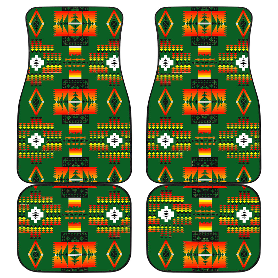 Seven Tribes Green Front And Back Car Mats (Set Of 4)