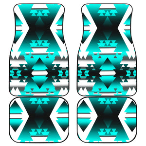 Teal Winter Camp Front And Back Car Mats (Set Of 4)