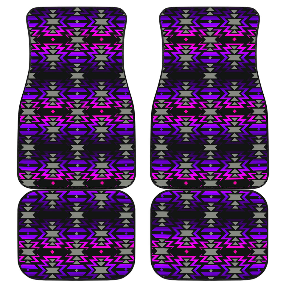 Black Fire Pink and Purple Front And Back Car Mats (Set Of 4)