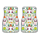 Geometric Floral Summer-White Set of 2 Car Mats
