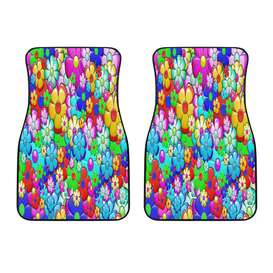Bright Flower Summer Front Car Mats (Set Of 2)