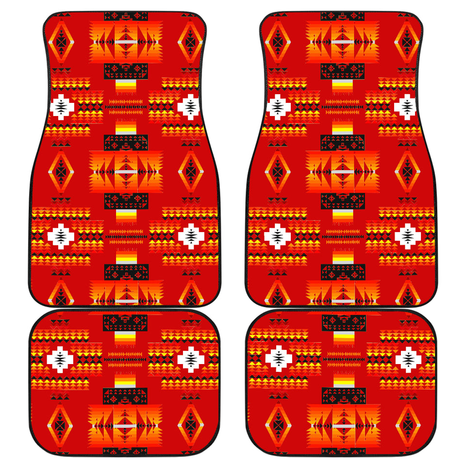 Seven Tribes Red Front And Back Car Mats (Set Of 4)