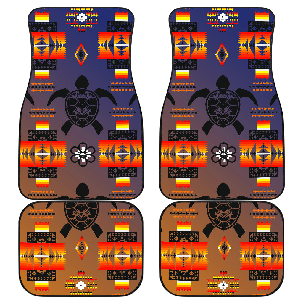 Turtle Dark Blue Orange Front And Back Car Mats (Set Of 4)