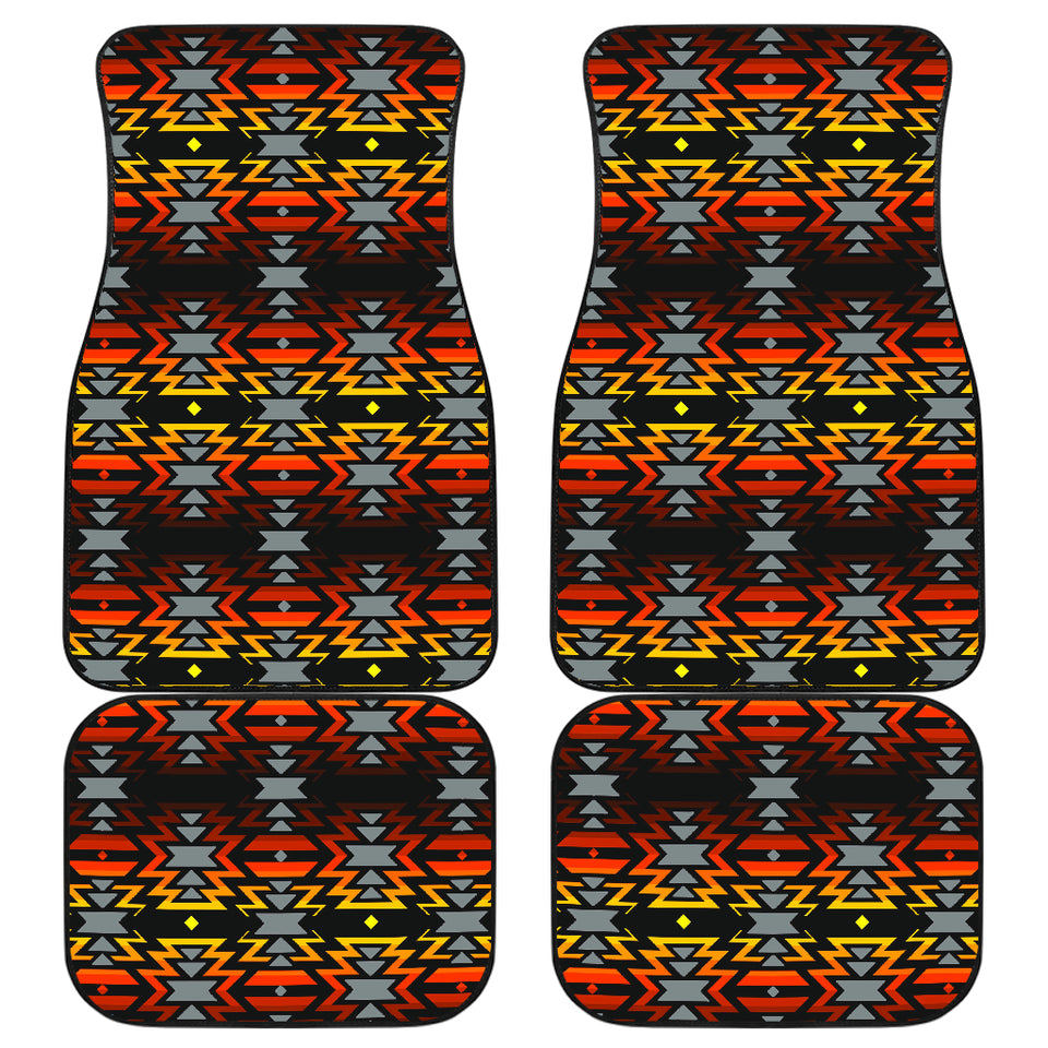 Black Fire Red Front And Back Car Mats (Set Of 4)