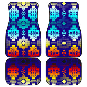 Blue Shades Front And Back Car Mats (Set Of 4)