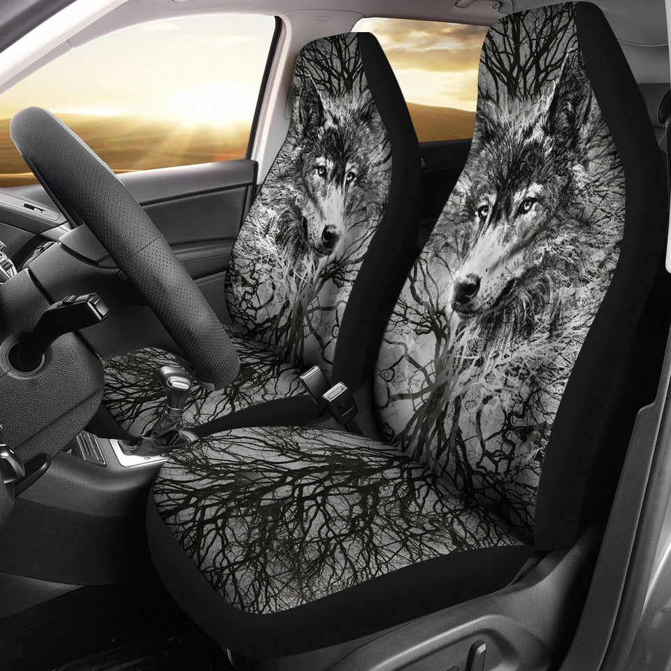 WOLF BEHIND TREE SEAT COVERS
