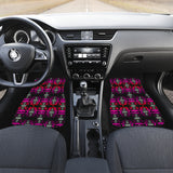Black Fire Pink and Red Front And Back Car Mats (Set Of 4)