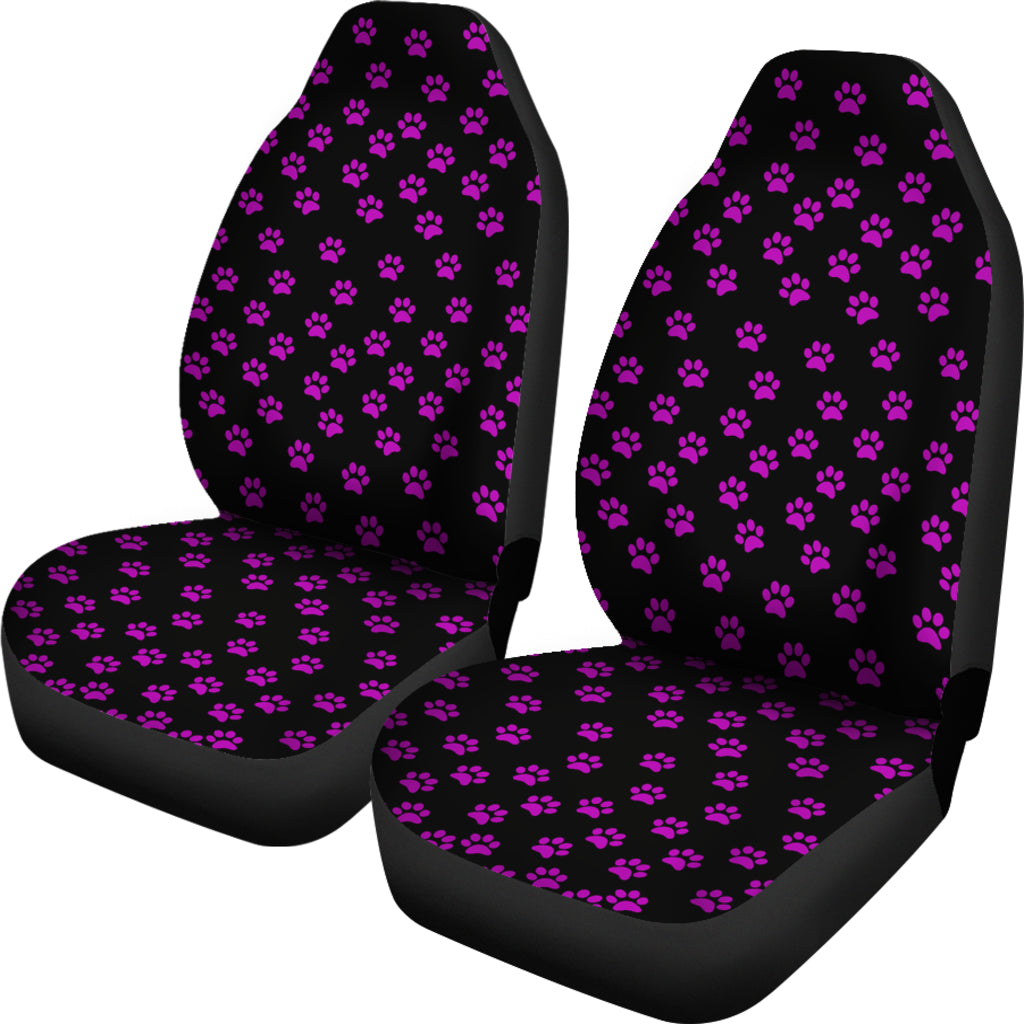 Purple paw prints seat cover
