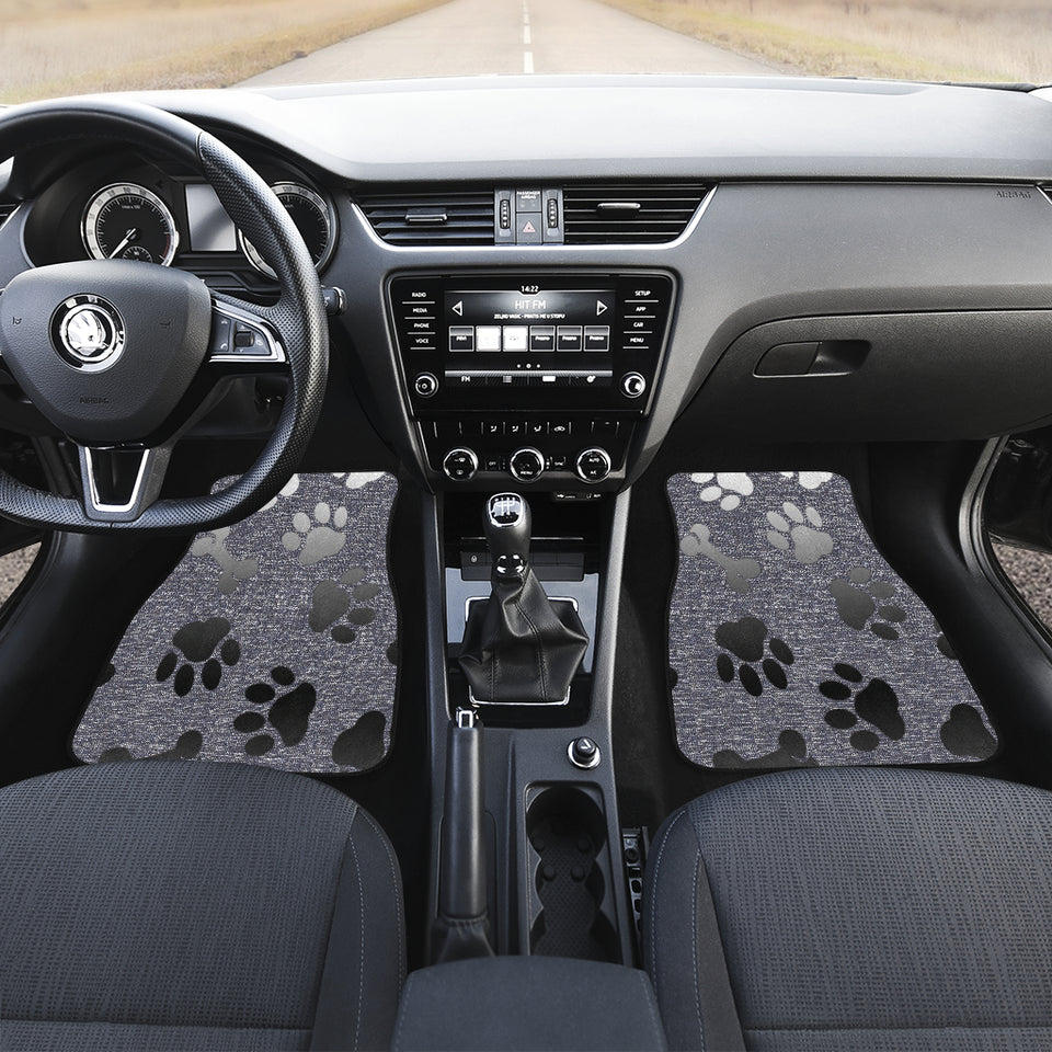 Silver bones and paws cute Car Floor Mat