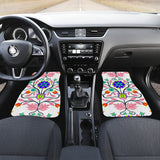 Floral Beadwork Four Clans White Set of 2 Car Mats