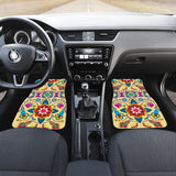 Geometric Floral Winter-Vanilla Set of 2 Car Mats