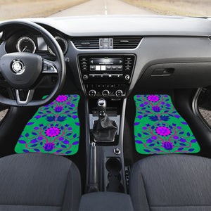 Floral Beadwork Four Clans Teal Set of 2 Car Mats