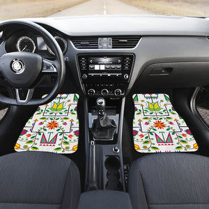 Geometric Floral Summer-White Set of 4 Car Mats