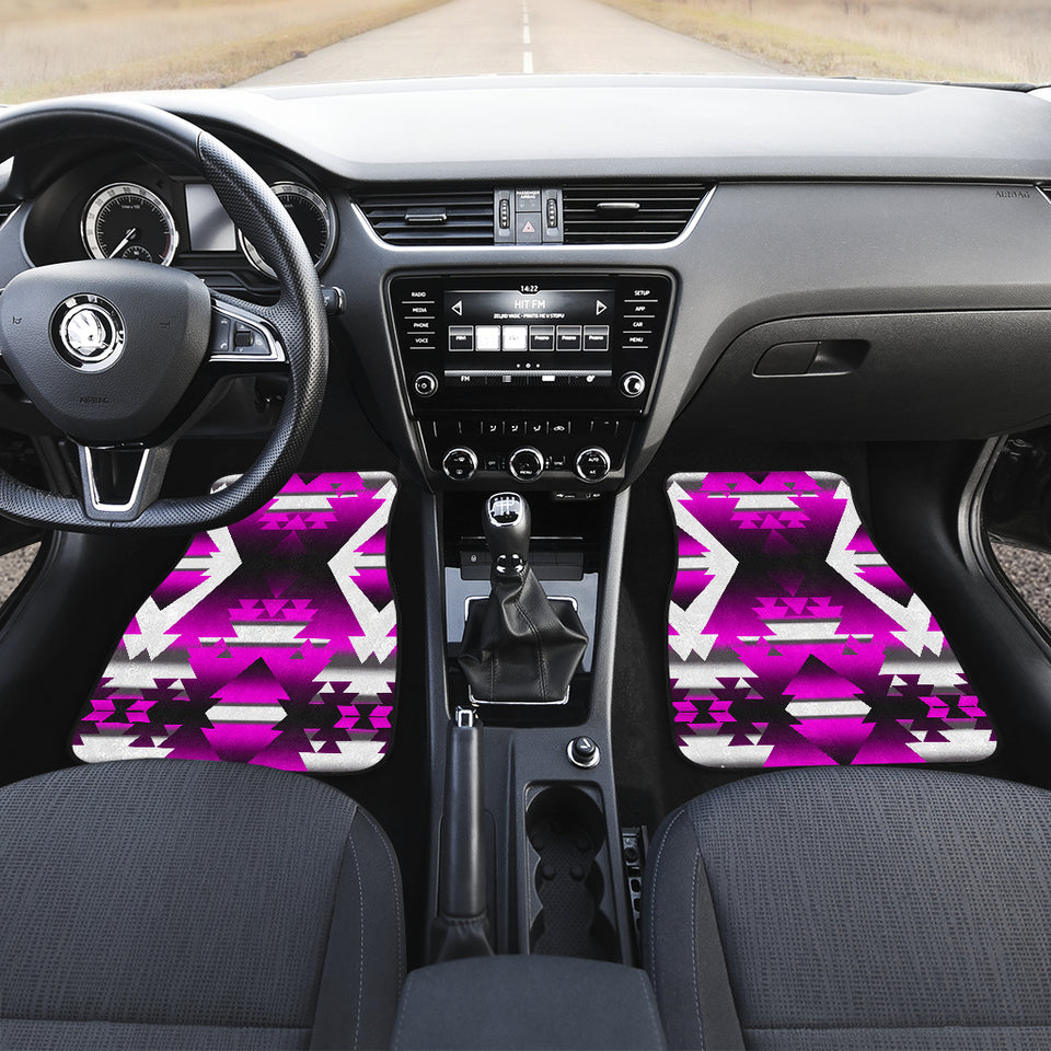 Pink Winter Camp Front Car Mats (Set Of 2)