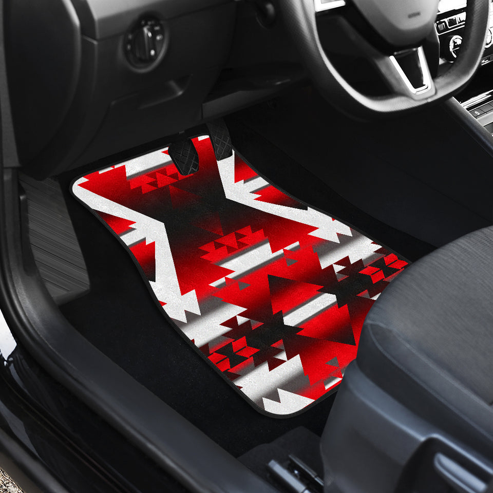 Red Winter Camp Front And Back Car Mats (Set Of 4)