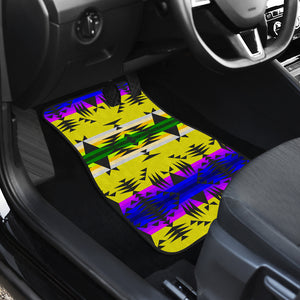 Between the Mountains Greasy Yellow Set of 4 Car Mats