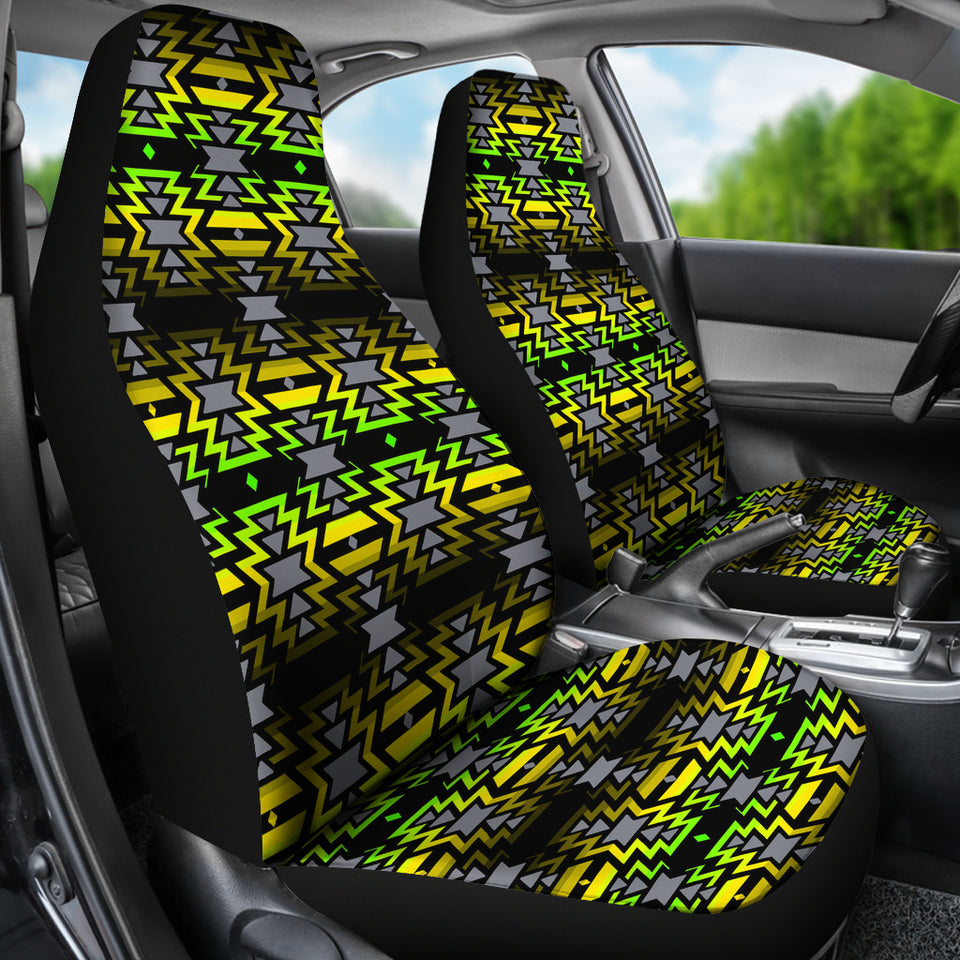 Black Fire Green and Yellow Car Seat Covers
