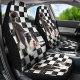 Border Collie Checkers Car Seat Covers