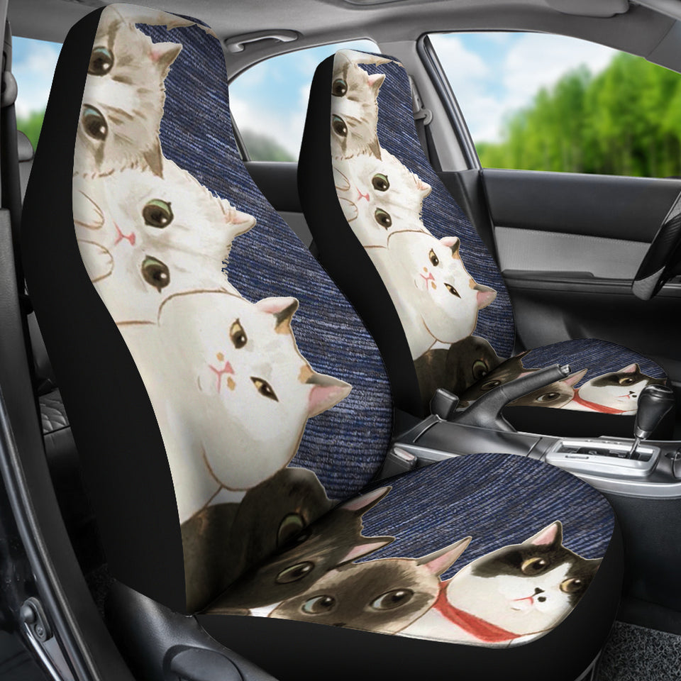 Cats - blue pattern Car Seat Cover