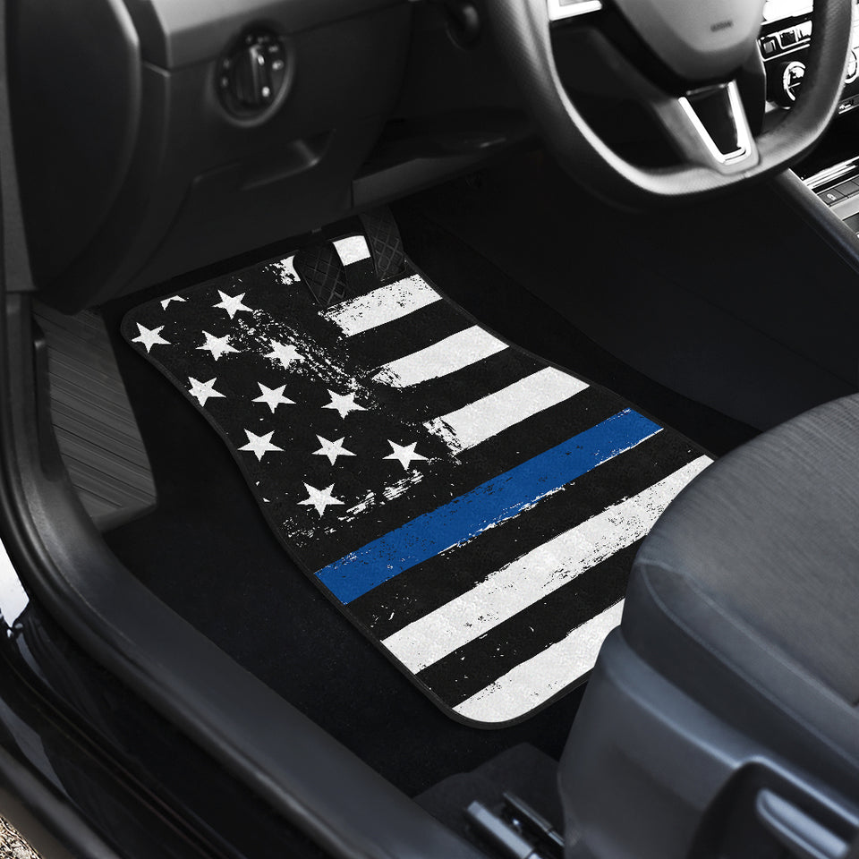 Thin Blue Line Front And Back Car Mats (Set Of 4)