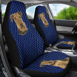 Blue pattern and the dog Car Seat Cover