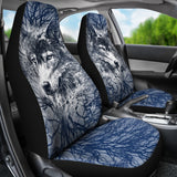 WOLF BEHIND TREE SEAT COVERS WITH BLUE