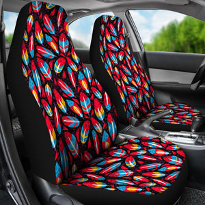 Red Feathers Car Seat Covers