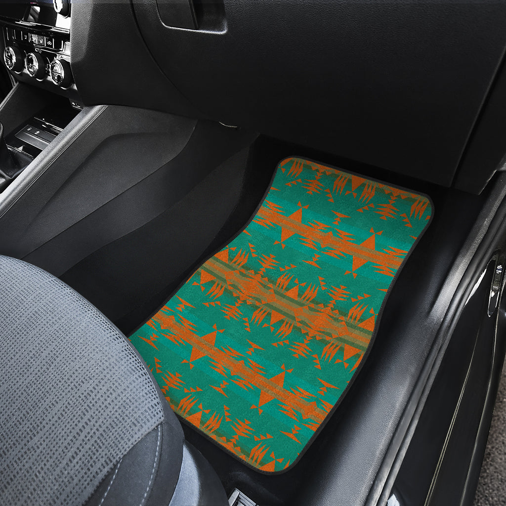 Between the Mountains Teal Orange Set of 2 Car Mats