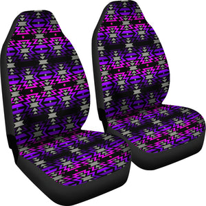 Black Fire Pink and Purple  Set of 2 Car Seat Covers