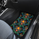 Floral Beadwork Four Clans Set of 2 Car Mats