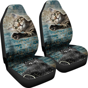 Grey kitten hi! Car Seat Cover