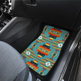 Seven Tribes Teal Front And Back Car Mats (Set Of 4)