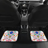 Floral Beadwork Four Clans White Set of 4 Car Mats