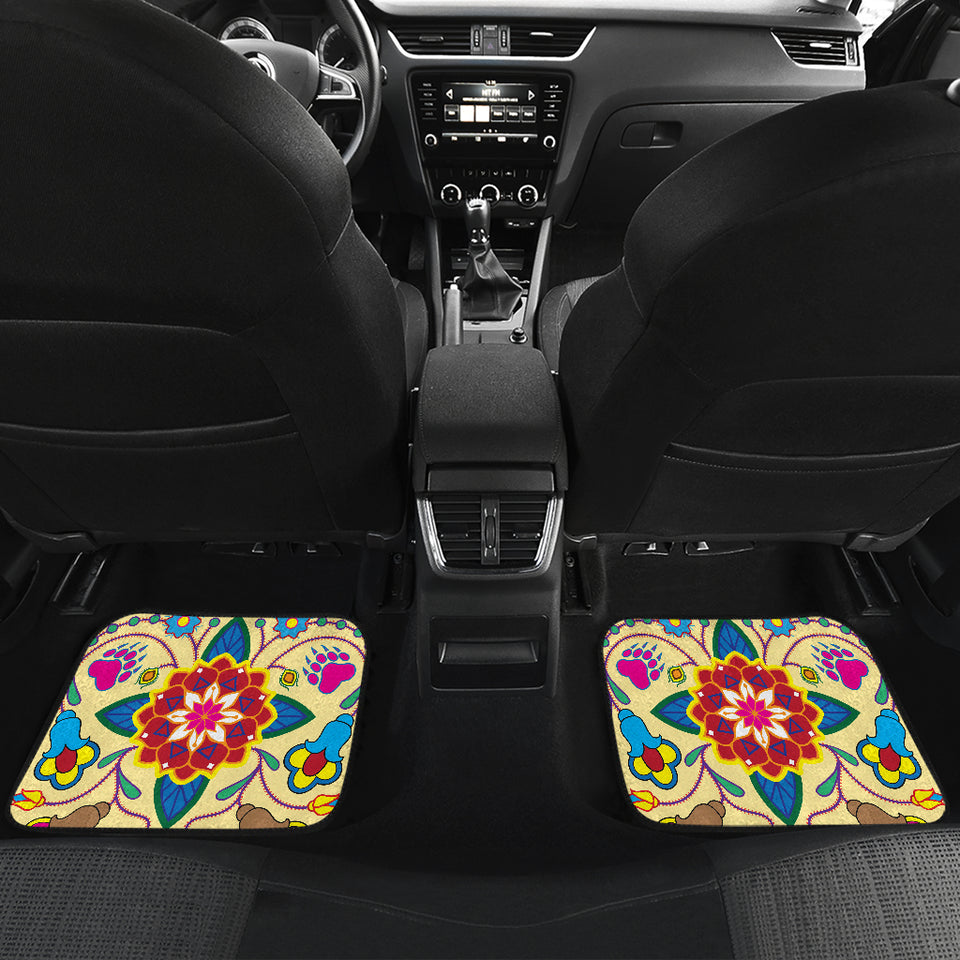 Geometric Floral Winter-Vanilla Set of 4 Car Mats