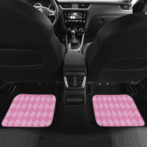 Pink Argyle Car Floor Mats Set 4