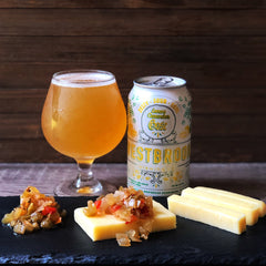 Westbrook Brewing's Lemon Cucumber Gose paired with Face Rock Cheddar and The Good Jar Picallili