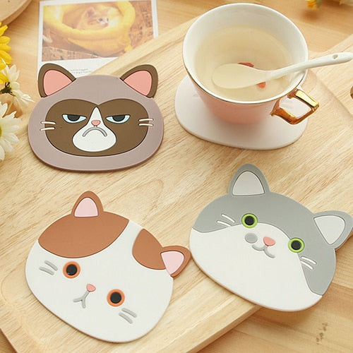 Cat Shaped Tea Coaster Cup Holder Mat