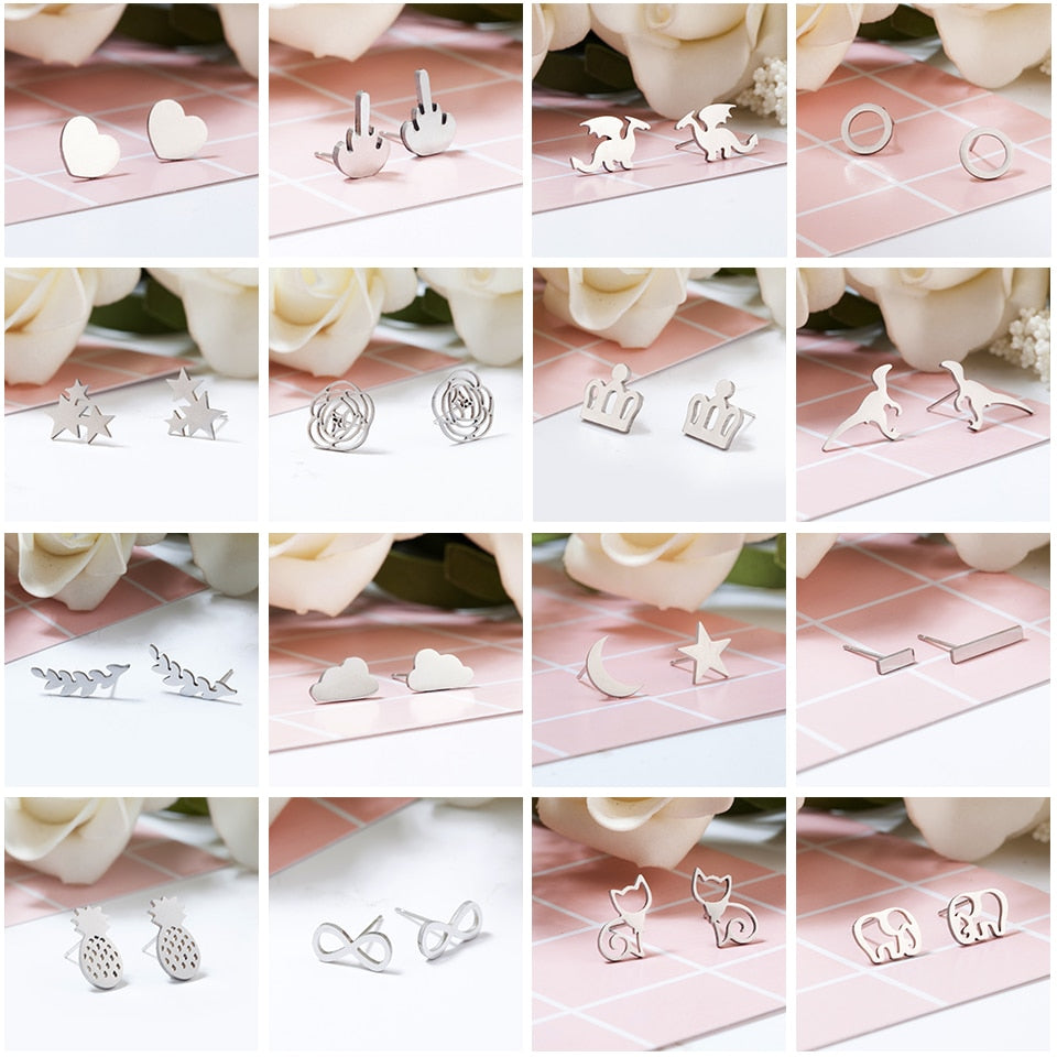Silver Stainless Steel Animal Heart Leaf Cat Flower Star Stud Earrings