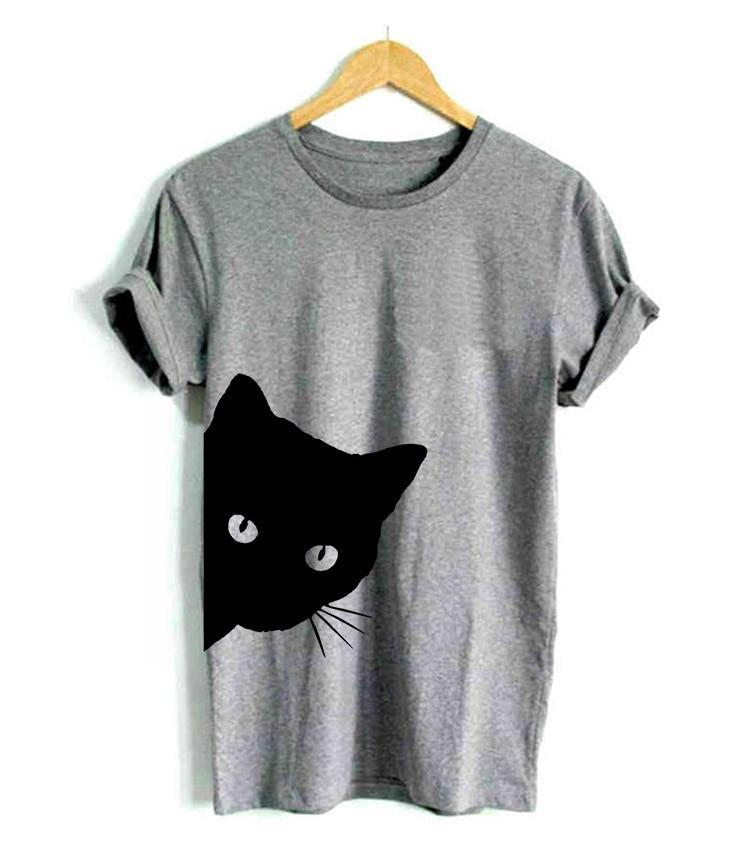Cat Looking Outside Print Women T-shirt Cotton