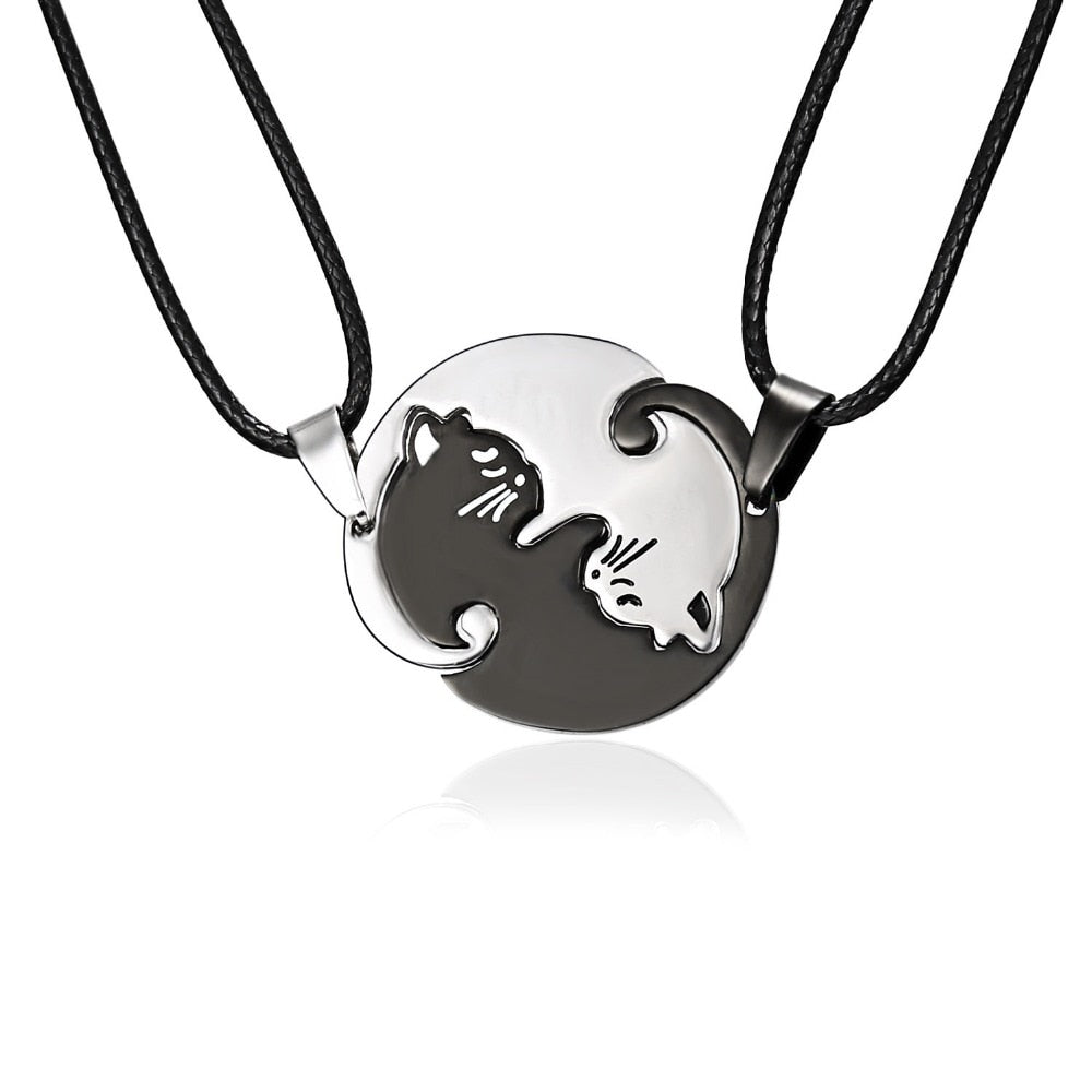 Black White Cat Couple Necklace