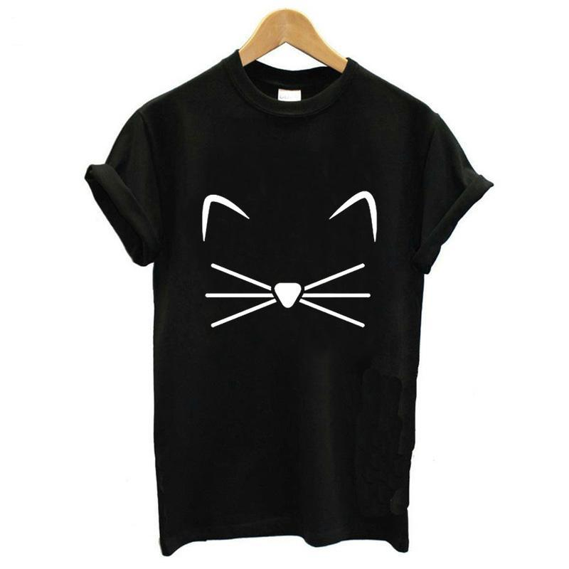 Tops Punk Cartoon Cat Face Letter Print Tee Shirt