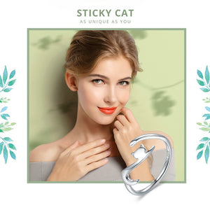 Silver Sticky Cat with Long Tail Finger Ring