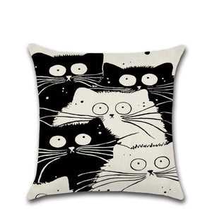 Cartoon Cat Linen Cushion