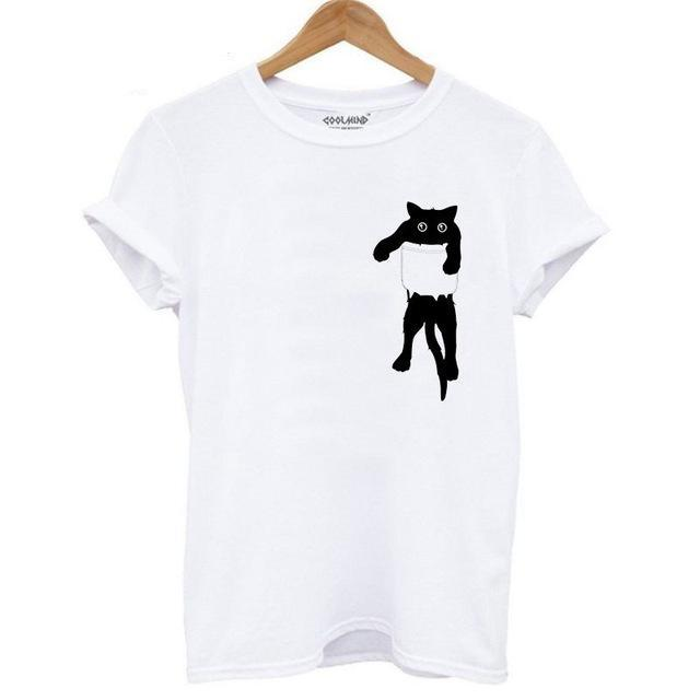 Cotton Cat Print Women T-shirt