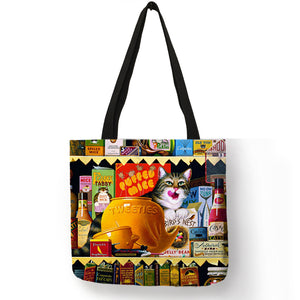 Oil Painting Cat Print Women Tote Bags