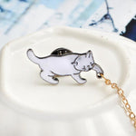 Cute Little White Imitation Pearl Cat Brooch Pins