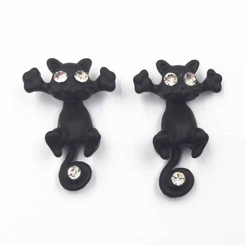 Through Your Ear Hanging Cat Earrings